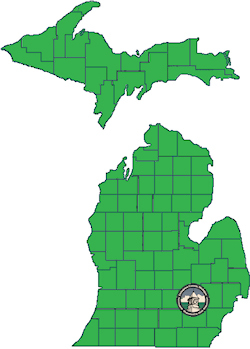 Map of Michigan showinl Livingston County's location.