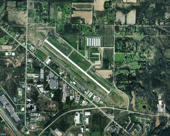 Bird's eye view of the Livingston County Airport.