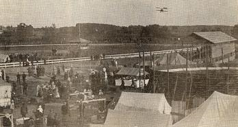 1915 photo of the first airplane landing in Howell on the infield at the fairgrounds.