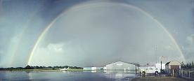 A rainbow shines above the Livingston County Airport after a rainstorm.