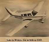 "A poster for flight school.  ""Solo in 30 days.  For as little as $269."""