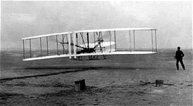 The Wright Brothers test their airplane.