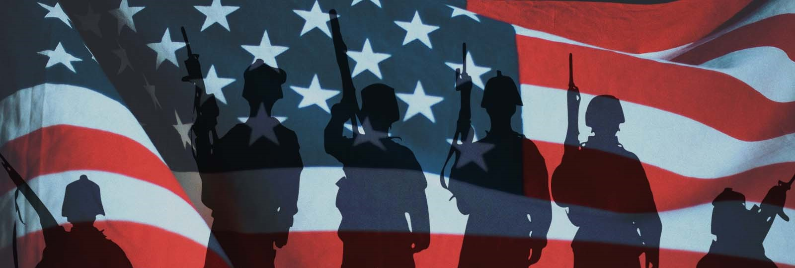 graphic of american flag with soldier silhouettes